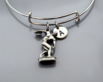 The Discobolus of Myron charm bracelet, Discus Thrower charm, disc thrower, Greek Mythology, Expandable bangle, Initial bracelet