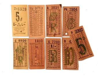 The Orange set: vintage ticket collection with 9 tickets. British Transport vintage tickets.