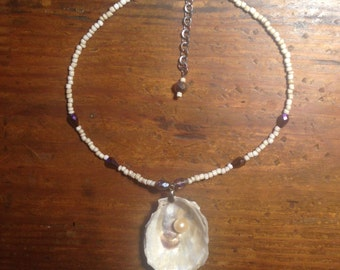 Oyster Shell  Bead And Crystal Necklace with Pearl