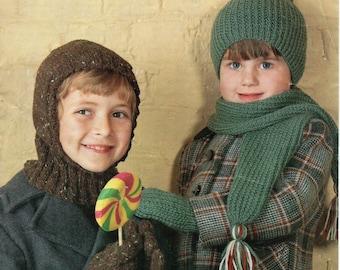Childrens aran hat, balaclava, scarf, gloves, mitts -  4 to 8 & 8 to 12 years - aran yarn - knitting pattern-pdf instant download