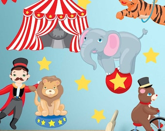 Big Top Circus Wall Decal Kit - Carnival Animals Wall Decal by Chromantics