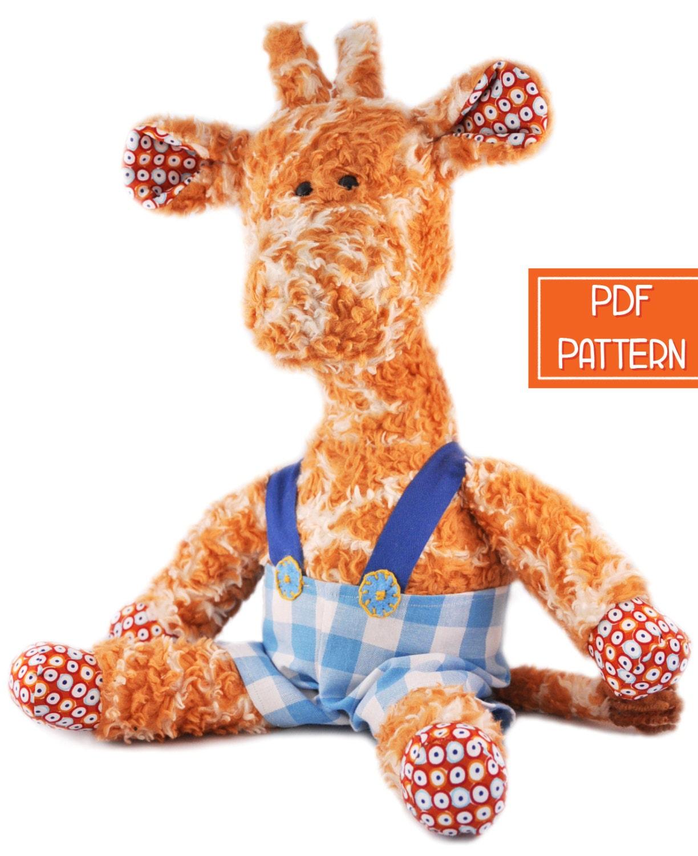 Soft Toy Patterns : Plush pattern giraffe toy soft pdf sewing