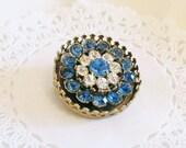 vintage coro rhinestone brooch blue rhinestones boho jewelry signed brooch round pin