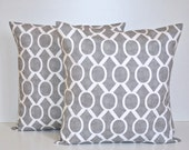 Set of 2 Decorative Throw Pillow Covers - Grey / White - Storm Sydney  - Premier Prints