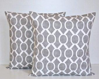 Set of 2 Decorative Throw Pillow Covers - Grey / White - Storm Sydney  - Premier Prints