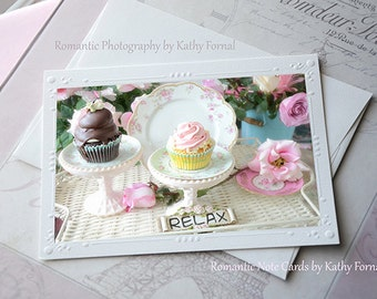 Cupcakes Note Card, Shabby Chic Cupcakes Note Card, Dreamy Pink Chocolate Cupcakes Note Card, Shabby Chic Cupcake Decor, Kitchen Food Photos