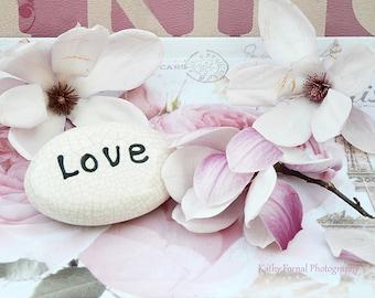 Magnolia Blossoms, Pink Magnolia Blossom Love Print, Shabby Chic Decor, Magnolia Blossoms, Pink Magnolia Floral Love Print, Magnolia Blossom
