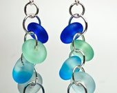 New water blue sea glass style earrings etched glass drop earrings sea foam and aquas dangle earrings beach glass island style by Paulbead