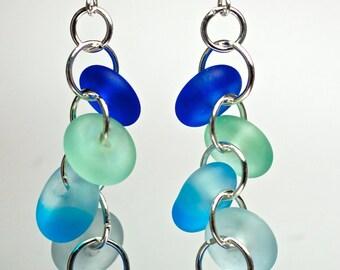 New water blue sea glass style earrings etched glass drop earrings sea foam and aquas dangle earrings beach glass island style by Paulbead