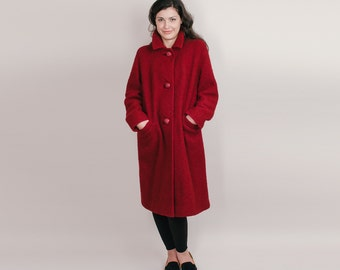 Raspberry Wine 1960s Coat - 60s Winter Boucle Wool Coat - Loose Overcoat