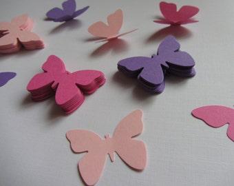 Paper butterflies 100 die cut butterflies, die cuts, wedding decorations, scrapbooking, weddings, pink purple butterflies