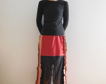 Women's Long T Shirt Skirt Tee Skirt Black Rust Gray Recycled T-Shirt Skirt Upcycled Skirt Cotton Soft Fall Autumn Skirt ohzie