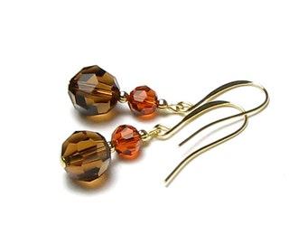 Golden Autumn Harvest Swarovski Crystal Dangle Earrings, Fall Colors, Chocolate Brown, Smoked Topaz, Rust Earrings, Indian Red, Gift For Her
