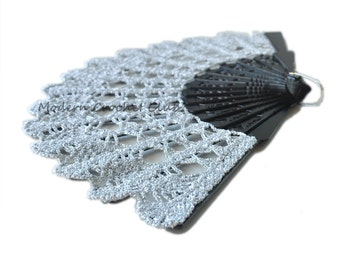 Silver Lace Fan for a Mother's Day Gift- Hand Held Fan- Handmade Lace Hand Fan- Halloween Costume- Folding Hand Fan- Victorian Wedding Fan