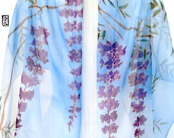 Hand Painted Silk Scarf, Large Blue Silk Scarf, Purple Japanese Wisterias, Silk Chiffon Scarf, 21x89 inches. Made to order.