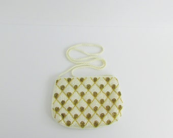Vintage 1960s Art Deco Beaded Evening Purse in White and Gold  by Goldco