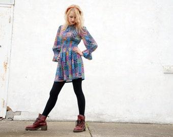 Patchwork mini dress, teal purple boho short, mod retro empire waist baby doll, 1960s  XS S petite SALE