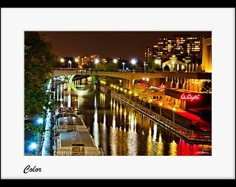 Ottawa Photography Rideau Canal PRINT Black and White Sepia Wall Decor Fine Photo Room Artwork Urban night picture yellow light husband him