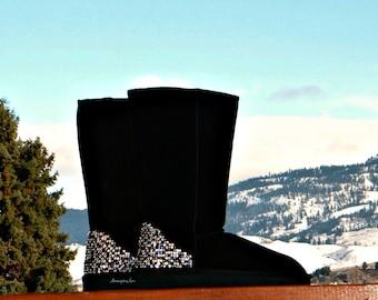 Custom Crystal Tall Boots Cold Winters Night w/ Swarovski Rhinestone Jewel Pearl Multi Color Heel Design Ladies UGG Suede Shoes fall gift