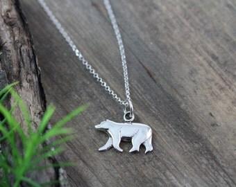 925 Sterling Silver Bear Necklace - Bear Pendant- Polar Bear Charm, Bear Cub. Grizzly Bear , Bear Jewelry, choose Italian chain, Silver Bear