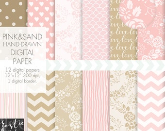 PINK digital paper. BEIGE hand-drawn floral, chevron, stirped, heart digital paper. Shabby chic digital paper for wedding, birthdays.