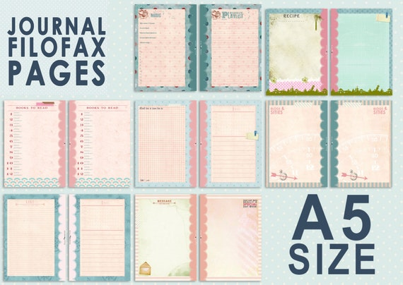 Printable Journal pages for FIlofax A5 size