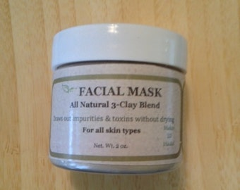 3-Clay Blend Facial Mask, Botanical Facial Mask, Amazingly Soft Skin, Face Mask, Mud Mask, Cleansing Grains