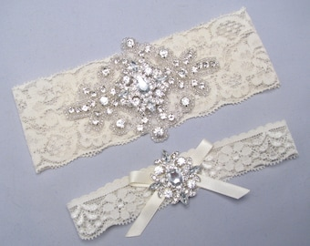 Ivory or White Lace Bridal Garter Set, Something Blue Wedding Garter, Crystal Rhinestone Keepsake and Toss Heirloom Garter Set