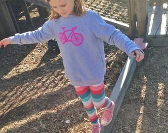 RACER GIRL SWEATSHIRT:  Road Bike in Bright Pink on a Heather Grey Sweatshirt for Children
