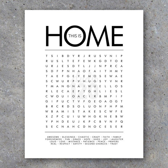 Housing Finder: THIS IS HOME Word Search Modern Wall Art By