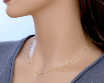 Gold filled chain necklace, Satellite necklace tiny bead, gold filled or sterling silver, dainty layering necklace jewelry gift, by balance9