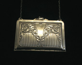 1912 Art Nouveau Silver Purse Duplex Wallet Style Purse Formal Dance Purse Silver Plated EXTREMELY RARE