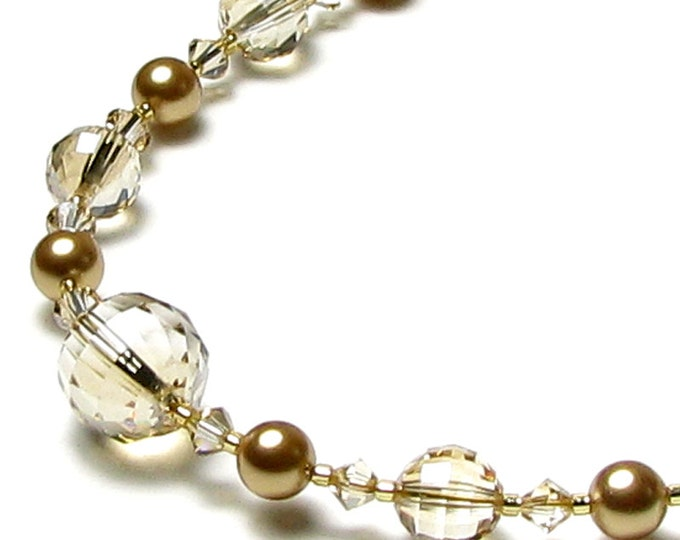 Heirloom Pearl Golden Shadow Swarovski Crystal Gold Pearl Necklace, 14k Gold Filled, Gold Wedding Jewelry, Timeless Mother of the Bride Gift