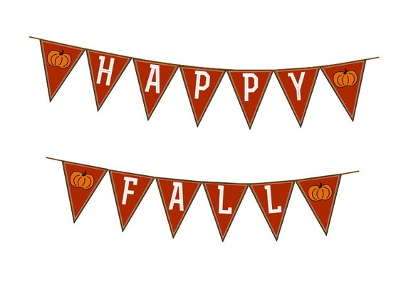 Happy Fall Autumn Banner DIY Garland Print Your own Seasonal Banner Pdf Printable Downloadable Banner Brown Pumpkin Fall Leaf Bunting Orange