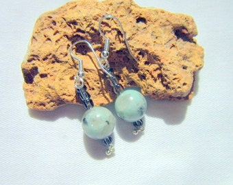 Tree Agate Earrings, Green Earrings  ID 317