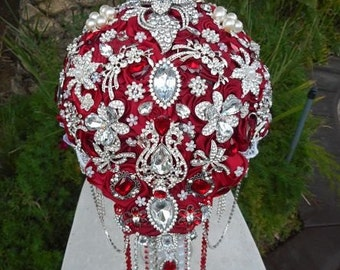 RED BROOCH BOUQUET- Deposit for Stunning Red Brooch Bouquet, Red Bouquet, Brooch Bouquet, Jeweled Bouquet, Red Bouquet