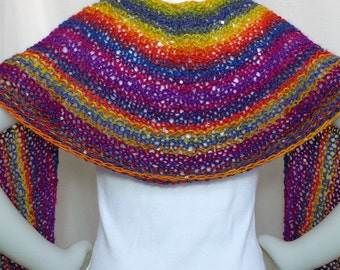 Hand Knit Rainbow Shawl with Sequins - Boho Shawl, Colorful Lace Wrap, Soft Striped Scarf, Ready to Ship, Handmade in the USA