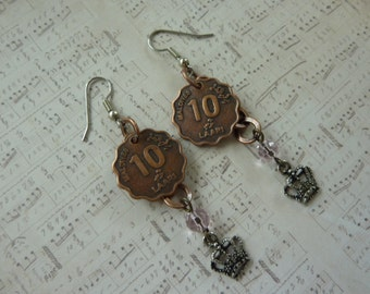 """SALE! Found Objects, Mixed Metal Earrings: Scalloped Edge, Copper """"10"""" Coin, Pink Bead and Antique Silver Crown on Copper Chain. Hang 2""""."""