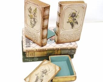 Vintage Desk Organizer | Chalkware Bookends | Wood Box | French Provincial Desk Set | Botanical Print