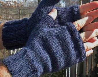 Fingerless Gloves Men's Fingerless Gloves Handknit Dark Denim Blue Merino Wool Fingerless Gloves Handwarmers Men's Dark Blue Merino Gloves