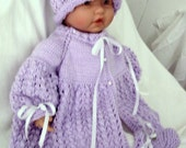 Custom handmade  knit baby girls pretty Lavender Sweater hat booties set Layette 0-12M Ready to Ship