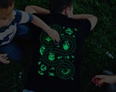 L, Glow in the Dark Space Shirt, Play Mat Shirt, Easter Gift for Dad, Gift from Kids, Outer Space, Alien Shirt, Roads on Back
