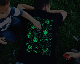 2XL, Glow in the Dark Space Shirt, Road on Back, Grandpa Shirt, Car Track Shirt, Outer Space, Alien Shirt, Play Mat Shirt