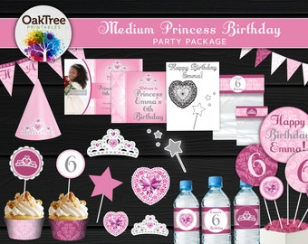 Medium Princess Birthday Party Package Set - Printable - DIY - Invitation Included - 15 Items