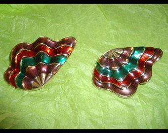 Vintage Multicolor Clip On Bold Statement Earrings