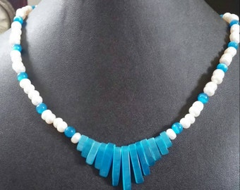 Aqua Blue Cats Eye and Fresh water Pearl Necklace