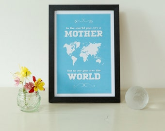 Mother's World Map Print - world map, pink, blue, lime, sienna, mum, gift, gift for her, mothers world map, map of the world, free shipping