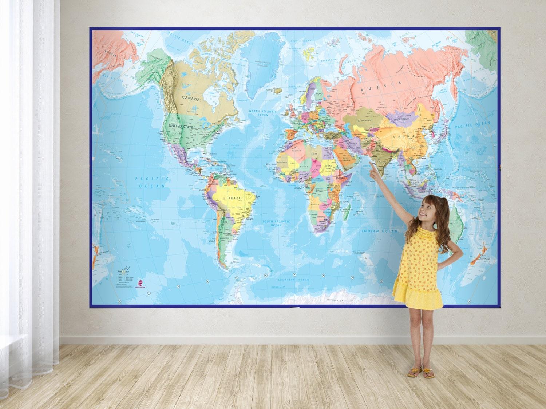 Giant world map mural blue ocean by mapsinternationaluk on for Blue world map mural