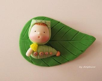 Elvira, the caterpillar (Handmade with air dry clay)
