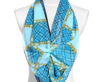 Womens Scarf, Blue Scarf, Floral Print Scarf, Chiffon Scarf, Voile Scarf, Cotton Scarf, Fashion Scarf, Shawl, Scarf for women, Womans Scarf
